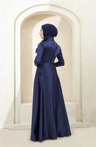 Omuzu Allerli Saten Tesettür Abiye Elbise 4832-04 Lacivert