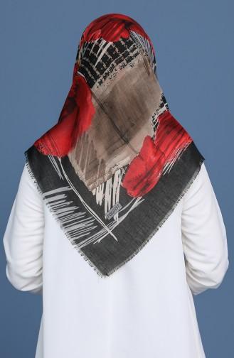 Desenli Çekme Cotton Eşarp 11411-07 Siyah Kırmızı