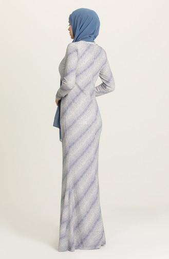 Saxe Hijab Evening Dress 0802B-01
