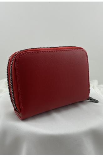 Çift Fermuarlı Kristal Tokalı Para Cüzdanı 0949-02 Kırmızı