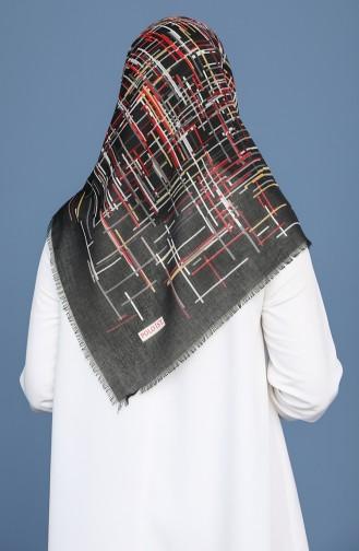 Desenli Çekme Cotton Eşarp 11414-19 Siyah Kırmızı