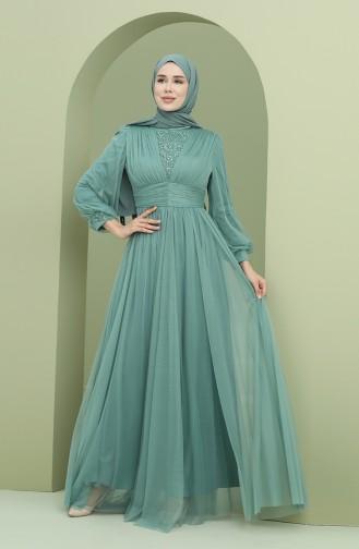 فساتين سهرة بتصميم اسلامي أخضر حشيشي 3403-05