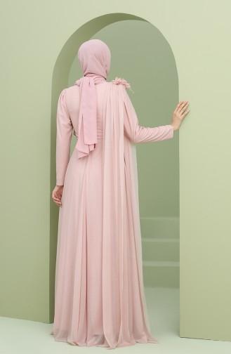 Simli Abiye Elbise 3050-02 Pudra