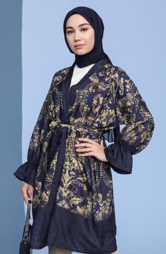 Desenli Kuşaklı Kimono 2020E-01 Lacivert