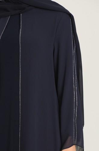 Dunkelblau Hijab-Abendkleider 6342-01