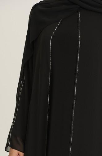 Black Hijab Evening Dress 6342-03