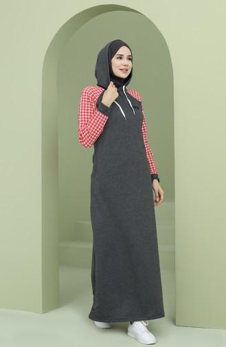 Kapüşonlu Garnili Spor Elbise 50108-01 Antrasit
