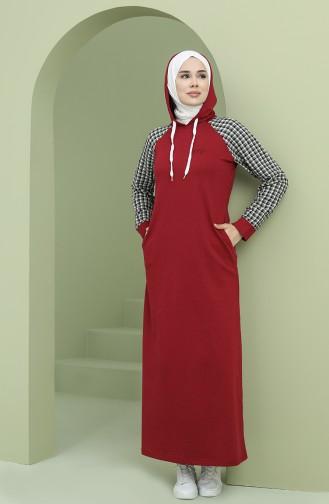 Kapüşonlu Garnili Spor Elbise 50108-02 Bordo