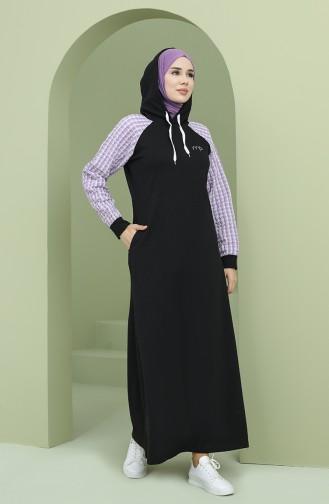 Kapüşonlu Garnili Spor Elbise 50108-06 Siyah