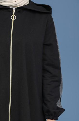 Kapüşonlu Spor Kap 1670-01 Siyah