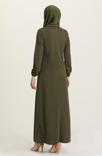 Khaki Hijab Dress 8989-05