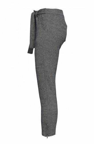 Balık Sırtı Desen Fermuar Detay Pantolon 0818-01 Gri