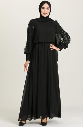 Black Hijab Evening Dress 5403-05