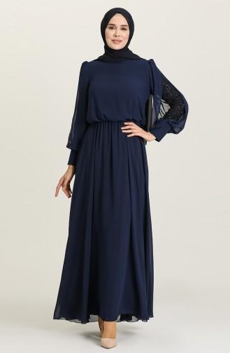 Navy Blue Hijab Evening Dress 5403-02