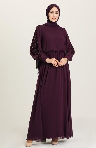 Purple Hijab Evening Dress 5403-03