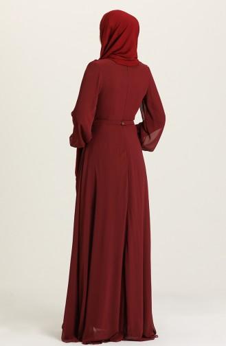 فساتين سهرة بتصميم اسلامي أحمر كلاريت داكن 5422-13