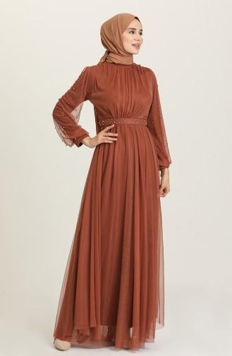 Brown Hijab Evening Dress 5514-16