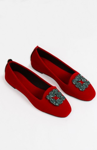 Ballerine Pour Femme Rouge 0189-08