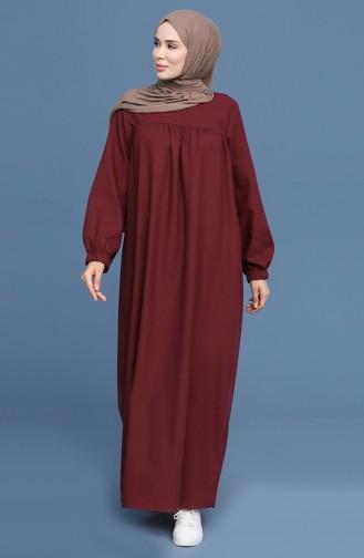 Claret Red Hijab Dress 22K3110-03