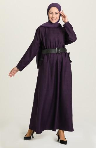 Purple Hijab Dress 22K8445-01