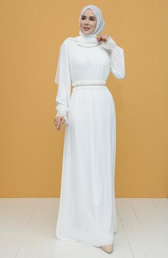 فساتين سهرة بتصميم اسلامي أبيض 61110-02