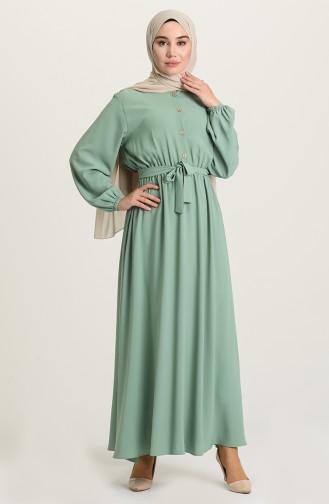 Düğmeli Elbise 5024-02 Çağla Yeşili