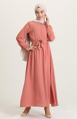 Düğmeli Elbise 5024-04 Pudra