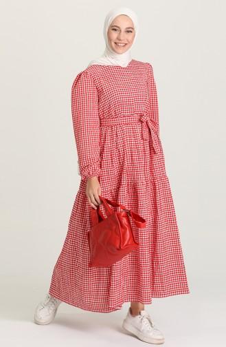 Kareli Büzgülü Elbise 5340B-03 Kırmızı