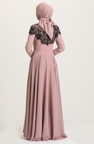 Powder Hijab Evening Dress 61138-02