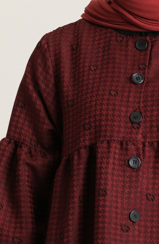 Claret Red Hijab Dress 22k8456-04