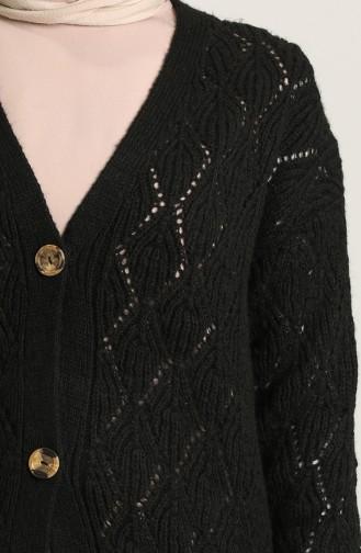 Triko Düğmeli Kısa Hırka 1501A-07 Siyah
