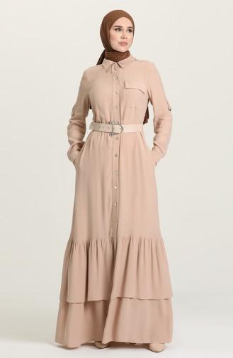 Beige Hijap Kleider 61308-02