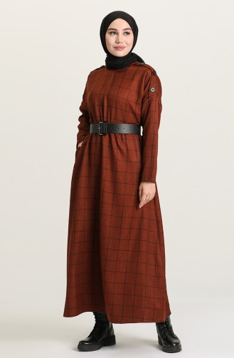 Dark Brick Red Hijab Dress 22K8445-07