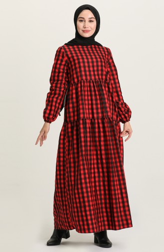Büzgülü Elbise 1674-04 Kırmızı