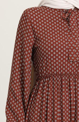 فستان أخضر تبغ 60260-01