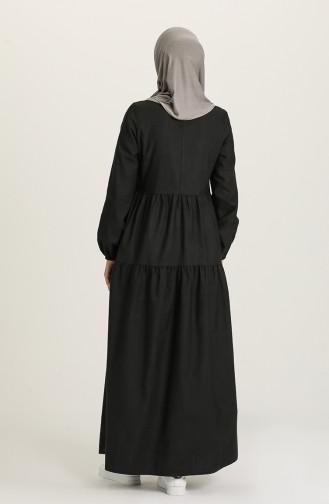 Büzgülü Elbise 1675-05 Siyah