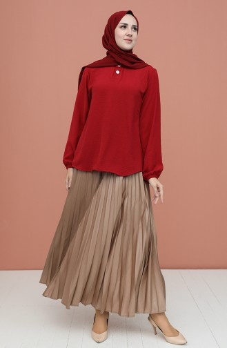 Claret Red Blouse 1019-02