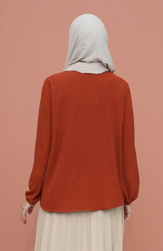 Ziegelrot Bluse 1019-04