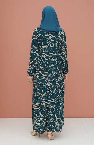 Robe Hijab Pétrole 5642B-03