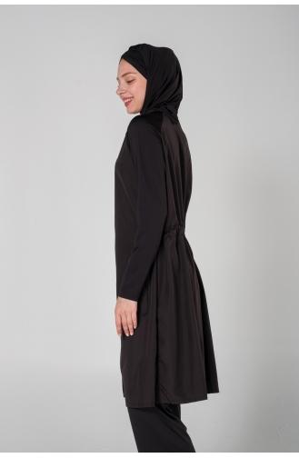 Maillot de Bain Hijab Noir 7000-01