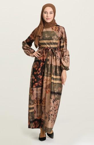 Khaki Hijab Dress 22K8469A-05