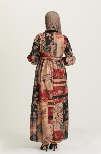 Claret Red Hijab Dress 22K8469A-07