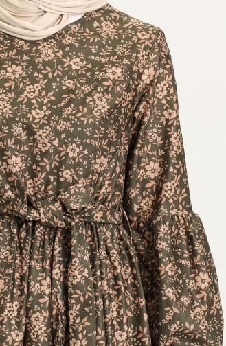 Khaki Hijab Dress 22K8469B-02
