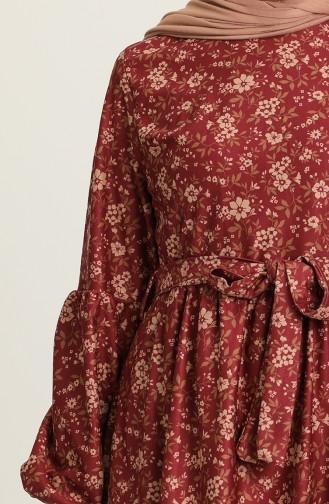 Claret Red Hijab Dress 22K8469B-04