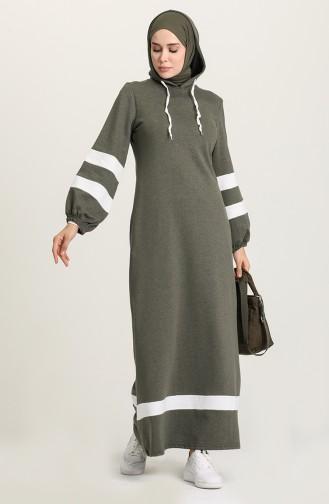 Khaki Hijab Dress 50111-06