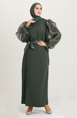 فستان أخضر زمردي 60119-11