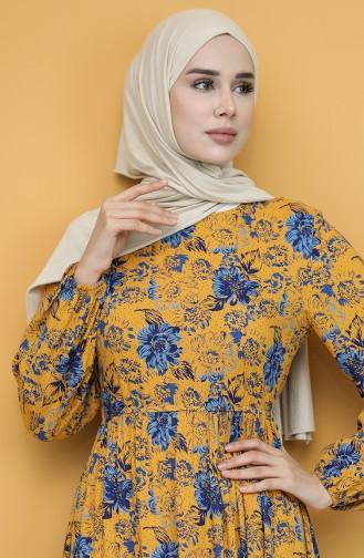 Mustard Hijab Dress 60266-03