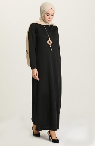 Kolu Lastikli Kolyeli Elbise 8989-01 Siyah