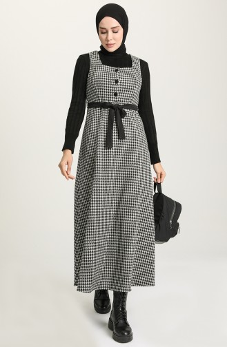 Kazayağı Desen Jile Elbise 7130B-01 Siyah Beyaz