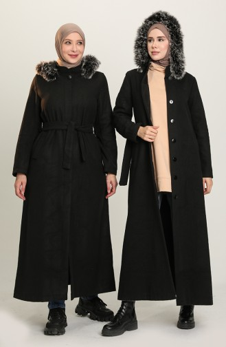 معطف طويل أسود 7945-01